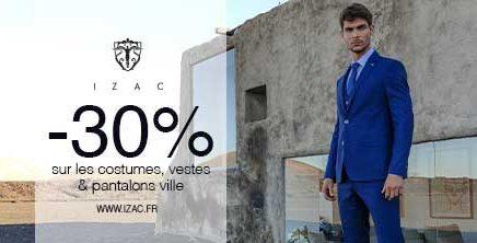 -30% sur les costumes chez IZAC