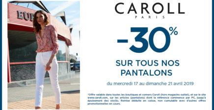 -30% sur tous les pantalons chez Caroll