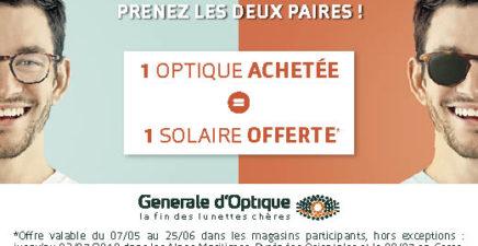 1 optique achetée = 1 solaire offerte chez Générale d'Optique
