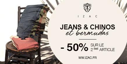 Jeans, chinos et bermudas : -50% sur le 2ème article chez IZAC