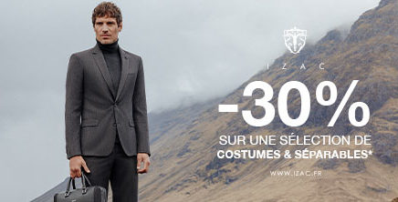 -30% sur une sélection de costumes, vestes et pantalons