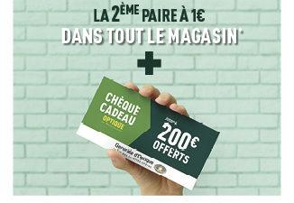 Une2èmepaire à 1€ et un bonde réduction jusqu'à 200€